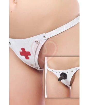 Трусики для страпона Медсестра белые
