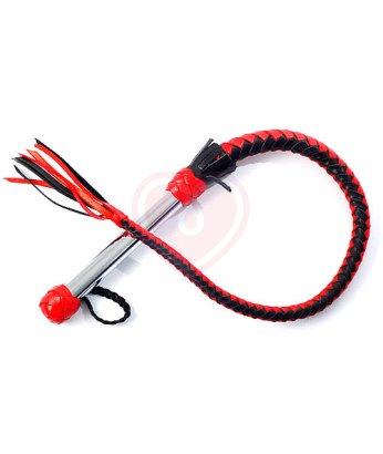 Кнут с металлической ручкой красно-чёрный