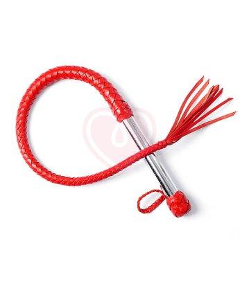 Кнут с металлической ручкой красный