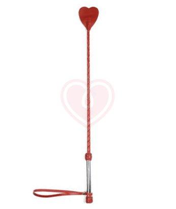 Длинный кожаный стек со шлепком сердечком красный с металлической ручкой