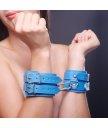 Наручники с мехом внутри на 2 ремешках Sitabella голубые