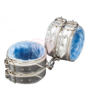 Наручники на 2 ремешках Sitabella серебряные с голубым мехом
