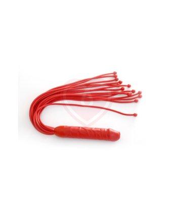 Плетка с ручкой фаллосом Mini Rocket красная