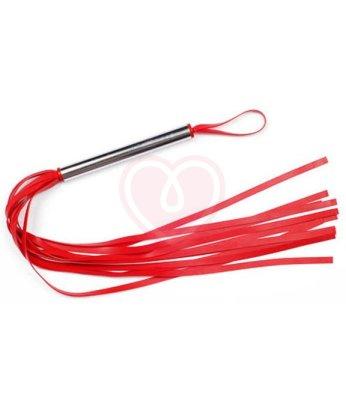 Латексная плеть с металлической ручкой красная