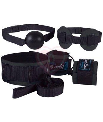 Комплект для бондажа кляп, маска, наручники и ошейник черные