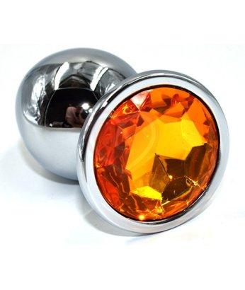Алюминиевая анальная пробка Large с жёлтым кристаллом