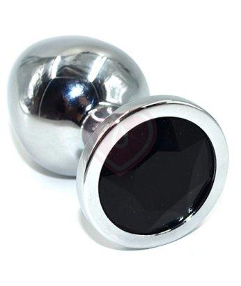 Алюминиевая анальная пробка Medium с чёрным кристаллом