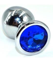 Алюминиевая анальная пробка Medium с синим кристаллом