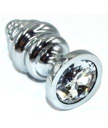 Ребристая анальная пробка Medium с прозрачным кристаллом