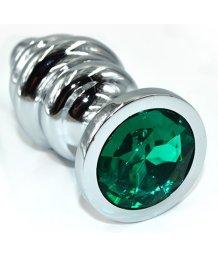 Ребристая анальная пробка Medium с зелёным кристаллом