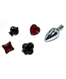 Набор из анальной пробки и кристаллов в форме карточных мастей