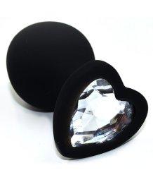 Силиконовая анальная пробка Medium с прозрачным кристаллом сердечком