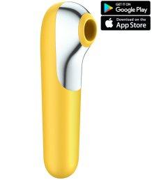 Вакуумный стимулятор с вибрацией и приложением Satisfyer Dual Love желтый