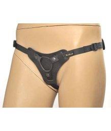 Кожаные трусики для страпона Leather Strap-on Anatomic Thong чёрные