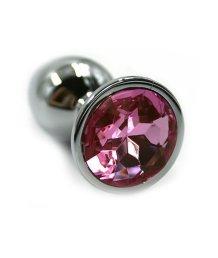 Средняя алюминиевая анальная пробка Medium с розовым стразом
