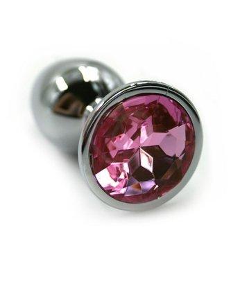 Маленькая алюминиевая анальная пробка Small с розовым стразом