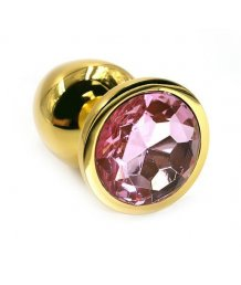 Маленькая золотая алюминиевая анальная пробка Small с розовым стразом