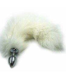 Анальная пробка из алюминия с хвостом из натурального белого меха