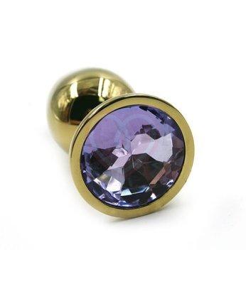 Маленькая золотая алюминиевая анальная пробка Small с сиреневым стразом
