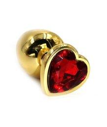 Большая золотая алюминиевая анальная пробка Large с красным стразом сердечком