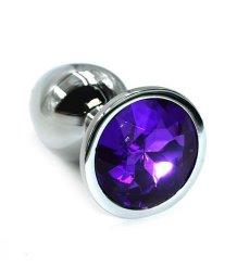 Средняя алюминиевая анальная пробка Medium с фиолетовым стразом