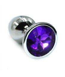 Маленькая алюминиевая анальная пробка Small с фиолетовым стразом