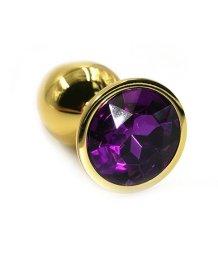 Маленькая золотая алюминиевая анальная пробка Small с фиолетовым стразом
