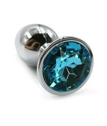 Маленькая алюминиевая анальная пробка Small с голубым стразом