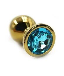 Маленькая золотая алюминиевая анальная пробка Small с голубым стразом