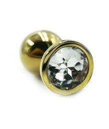 Маленькая золотая алюминиевая анальная пробка Small с прозрачным стразом