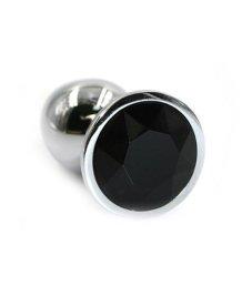 Большая алюминиевая анальная пробка Large с черным стразом