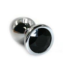 Маленькая алюминиевая анальная пробка Small с черным стразом