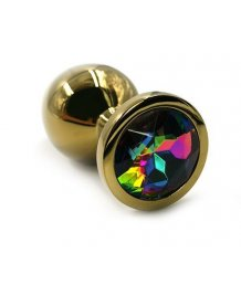 Маленькая золотая алюминиевая анальная пробка Small с разноцветным стразом