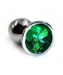 Маленькая алюминиевая анальная пробка Small с зеленым стразом