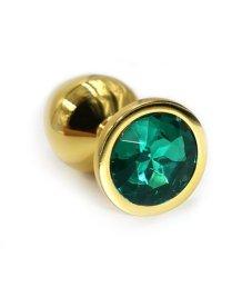 Маленькая золотая алюминиевая анальная пробка Small с зеленым стразом