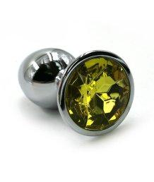 Маленькая алюминиевая анальная пробка Small с желтым стразом