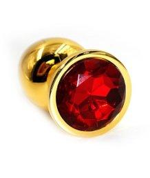 Маленькая золотая алюминиевая анальная пробка Small с красным стразом
