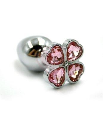 Алюминиевая анальная пробка с розовым кристаллом цветок
