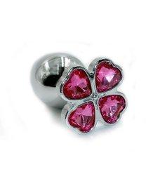 Алюминиевая анальная пробка с малиновым кристаллом цветок