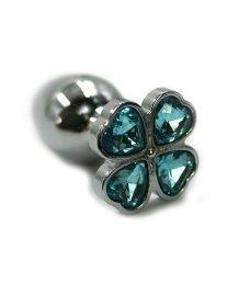 Алюминиевая анальная пробка с голубым кристаллом цветок