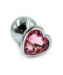 Алюминиевая анальная пробка средняя с розовым кристаллом сердечком