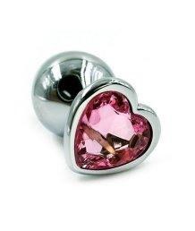 Алюминиевая анальная пробка малая с розовым кристаллом сердечком