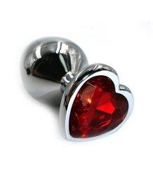 Алюминиевая анальная пробка средняя с красным кристаллом сердечком
