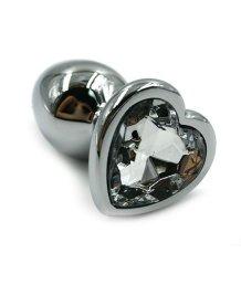 Алюминиевая анальная пробка средняя с прозрачным кристаллом сердечком