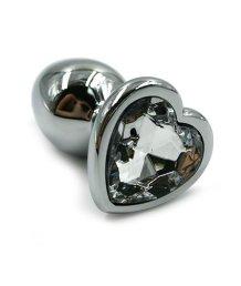 Алюминиевая анальная пробка малая с прозрачным кристаллом сердечком