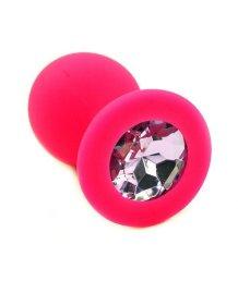 Силиконовая анальная пробка средняя розовая с нежно-розовым кристаллом