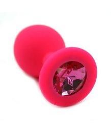 Силиконовая анальная пробка средняя розовая с ярко-розовым кристаллом