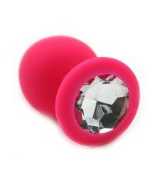 Силиконовая анальная пробка средняя розовая с прозрачным кристаллом