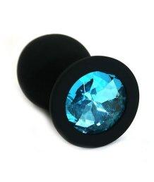 Силиконовая анальная пробка средняя черная с голубым кристаллом