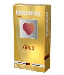 Презервативы золотого цвета Masculan Ultra 5 Gold с ароматом ванили 10шт